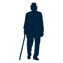 Walking senior man silhouette
