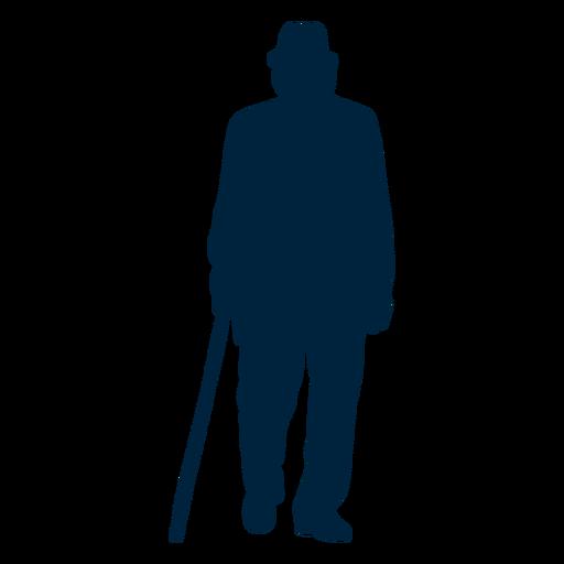 Walking senior man silhouette