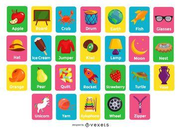 Pacote de cartões de ilustração de alfabeto