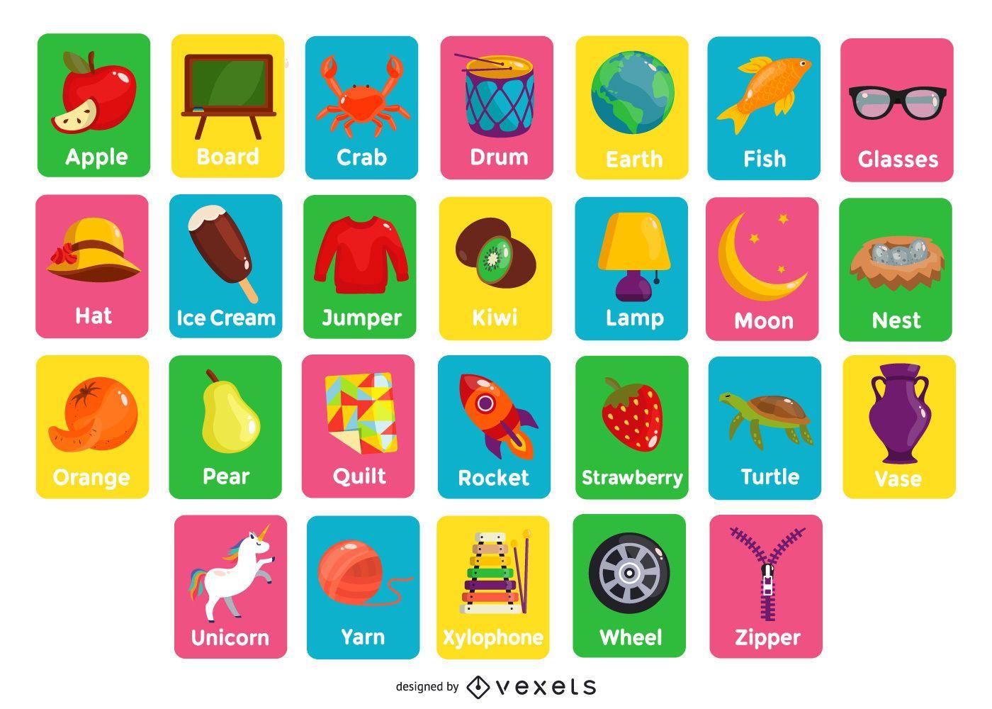 Pacote de cartões de ilustração do alfabeto