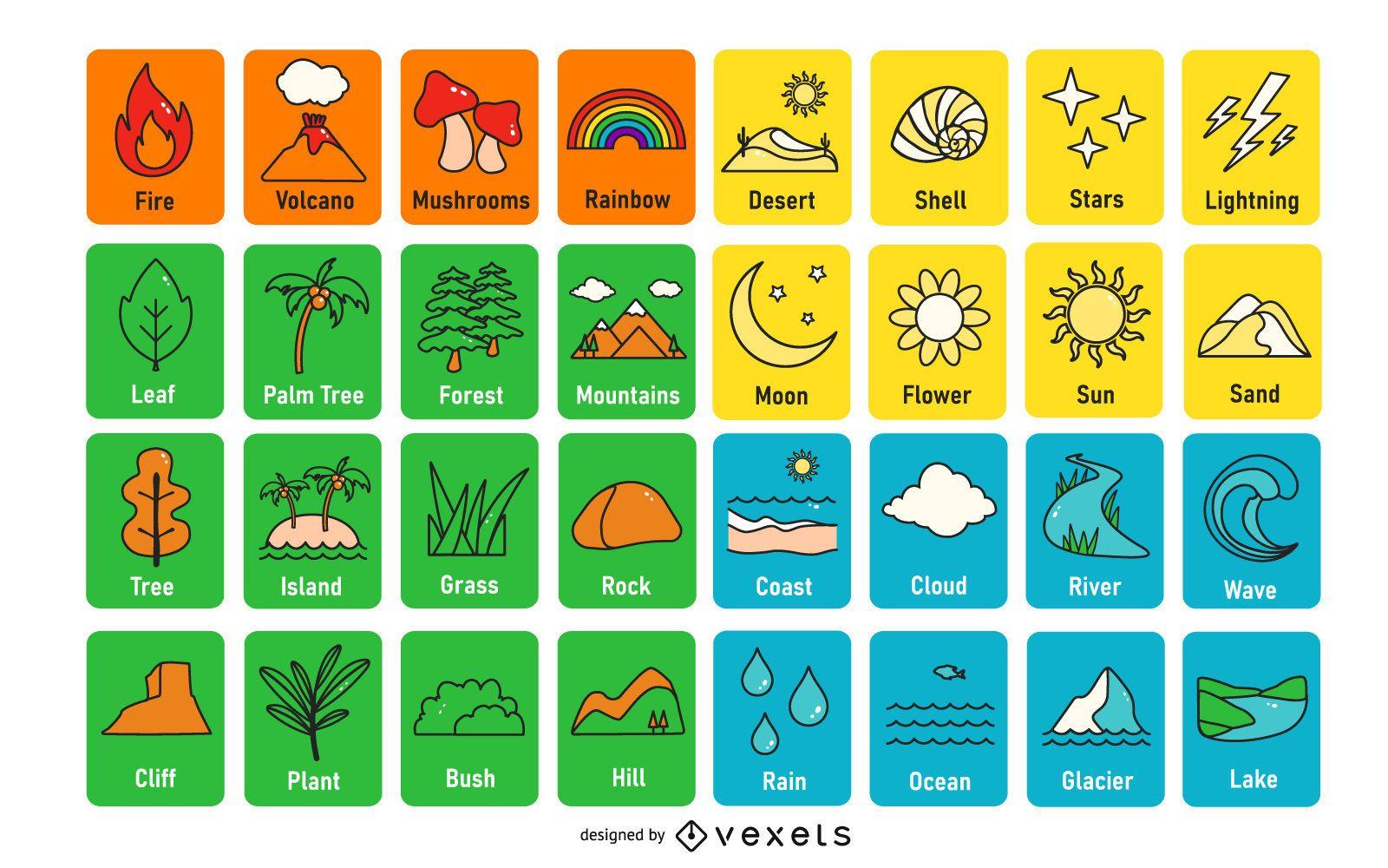 Nature Color Flashcard Design Pack