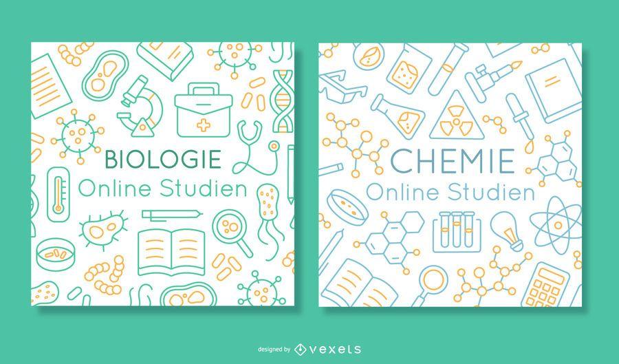 Conjunto de banners de educación en línea alemana