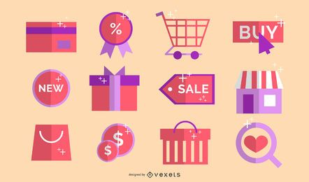 Conjunto de ícones de loja online