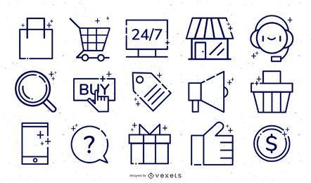 Conjunto de ícones de comércio eletrônico da loja online