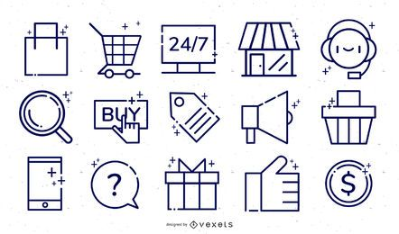 Online store ecommerce icon set