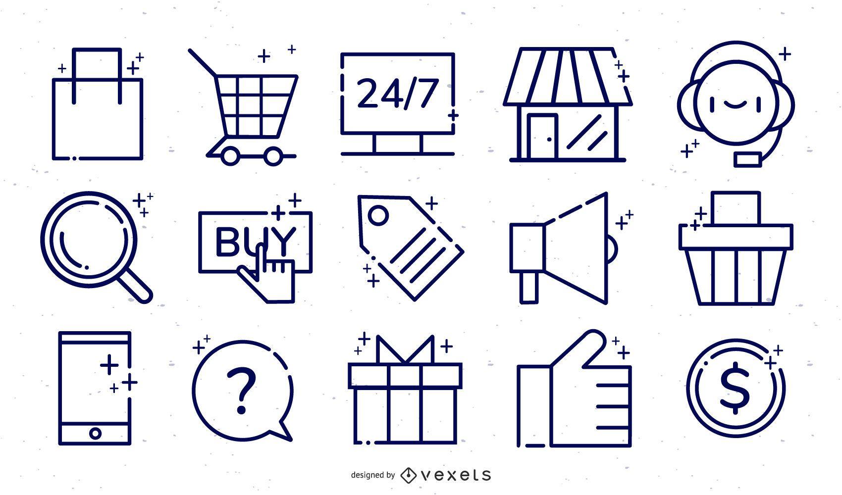 Online store ecommerce icon set