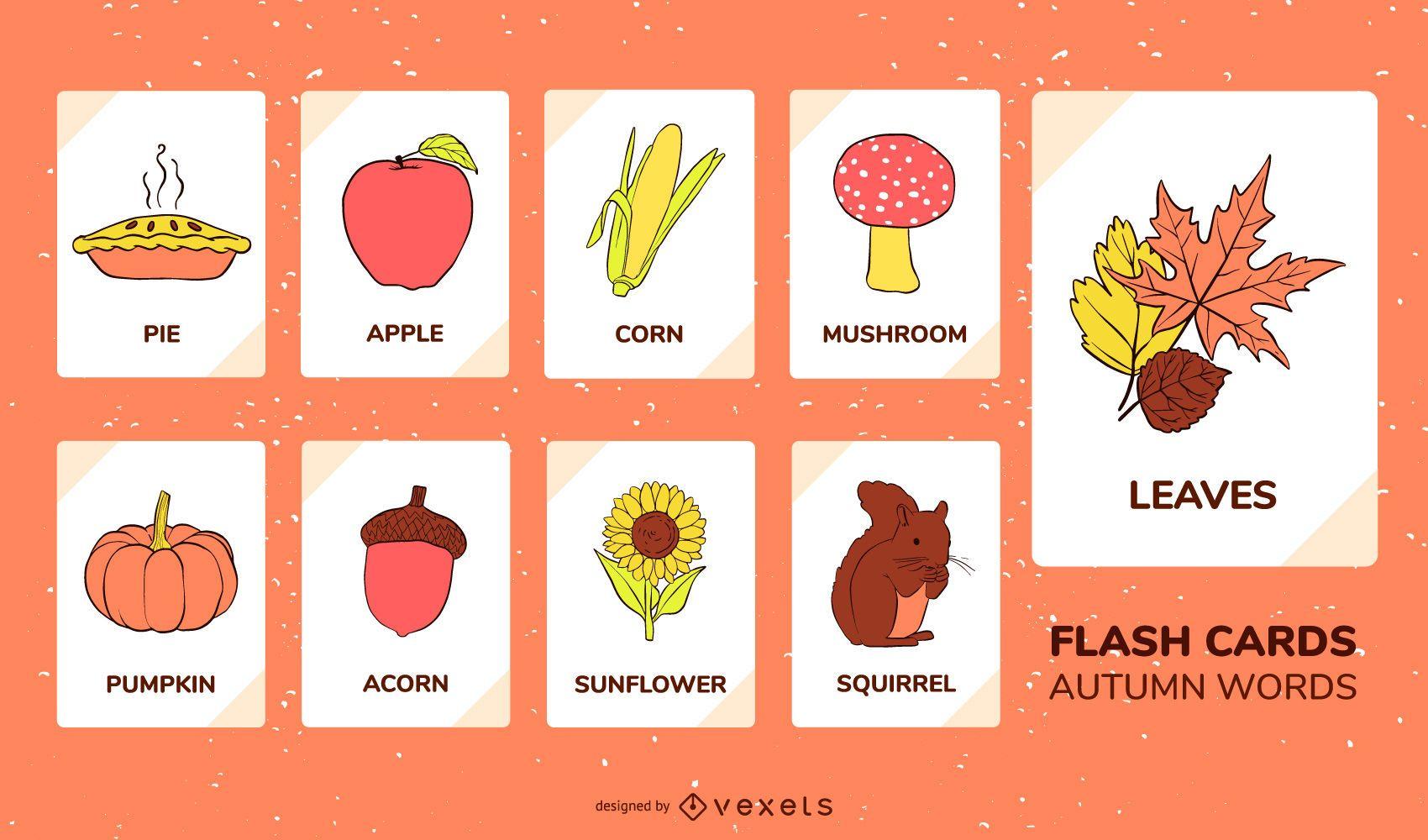 Conjunto de flashcard de elementos otoñales
