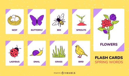 Conjunto de tarjetas flash de elementos de primavera