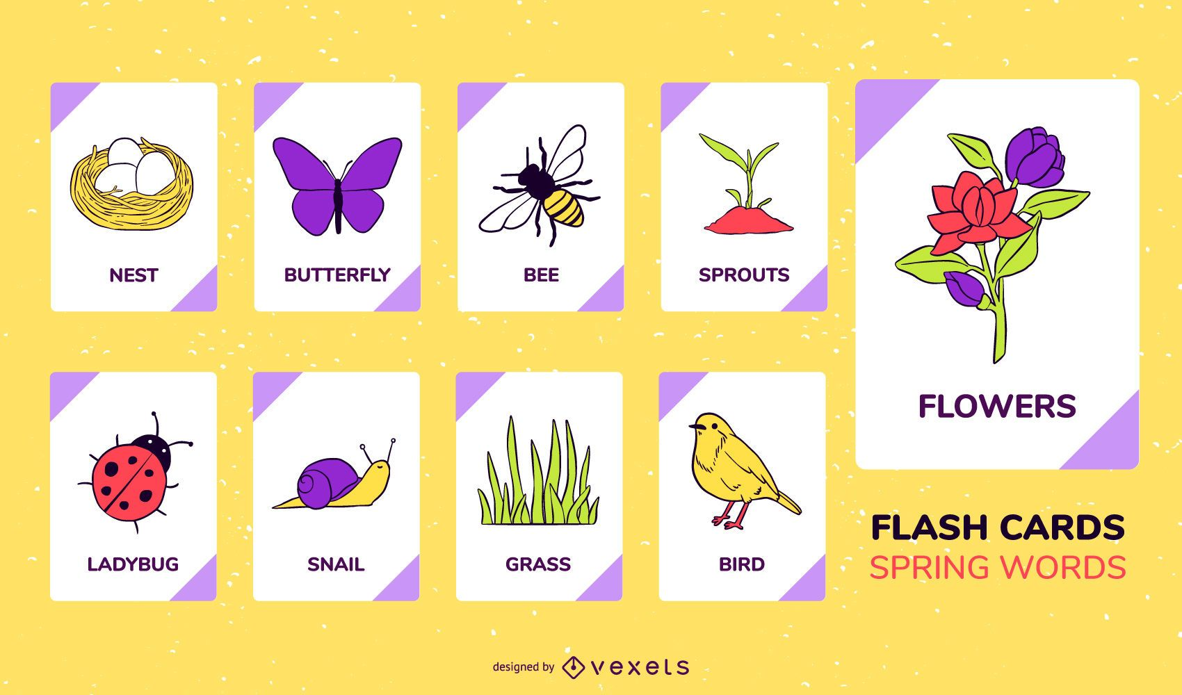Spring elements flashcard set