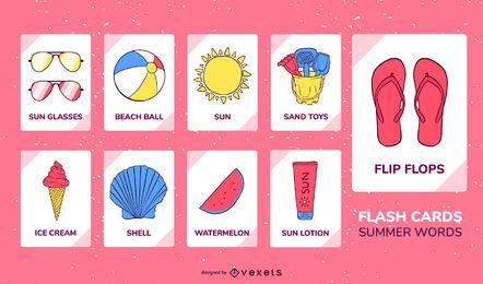 Conjunto de flashcard de elementos de verão