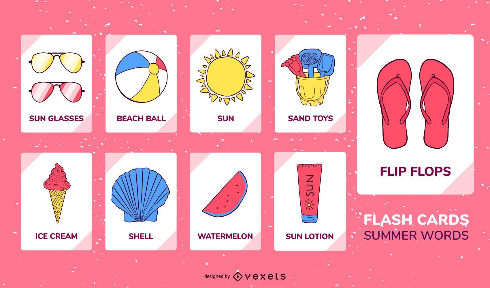 Summer elements flashcard set