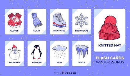 Conjunto de flashcard de elementos de inverno