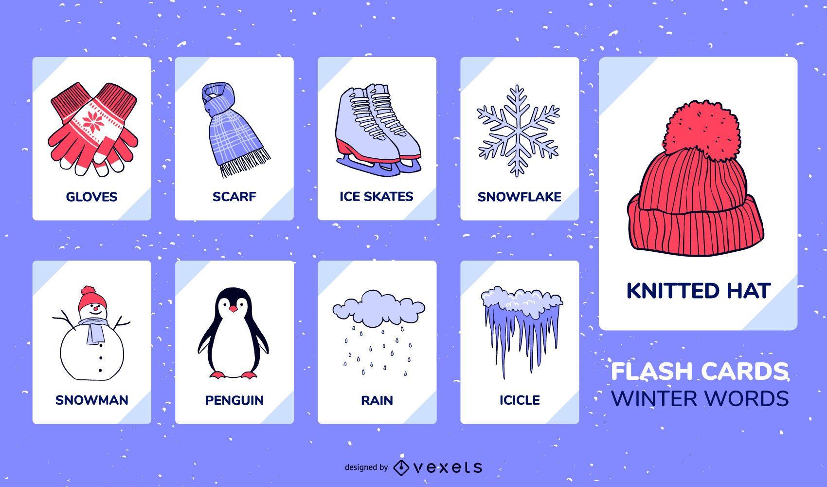 Conjunto de flashcard de elementos de invierno