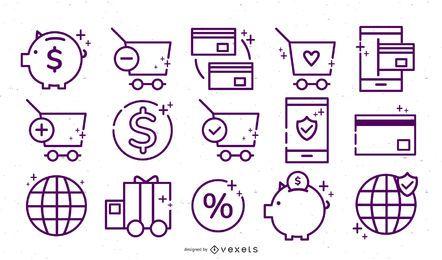 Online store stroke icon set