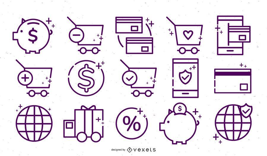 Conjunto de iconos de trazo de tienda en línea