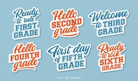 Conjunto de letras de grados escolares