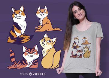 Design de t-shirt dos desenhos animados de irmãos de gato