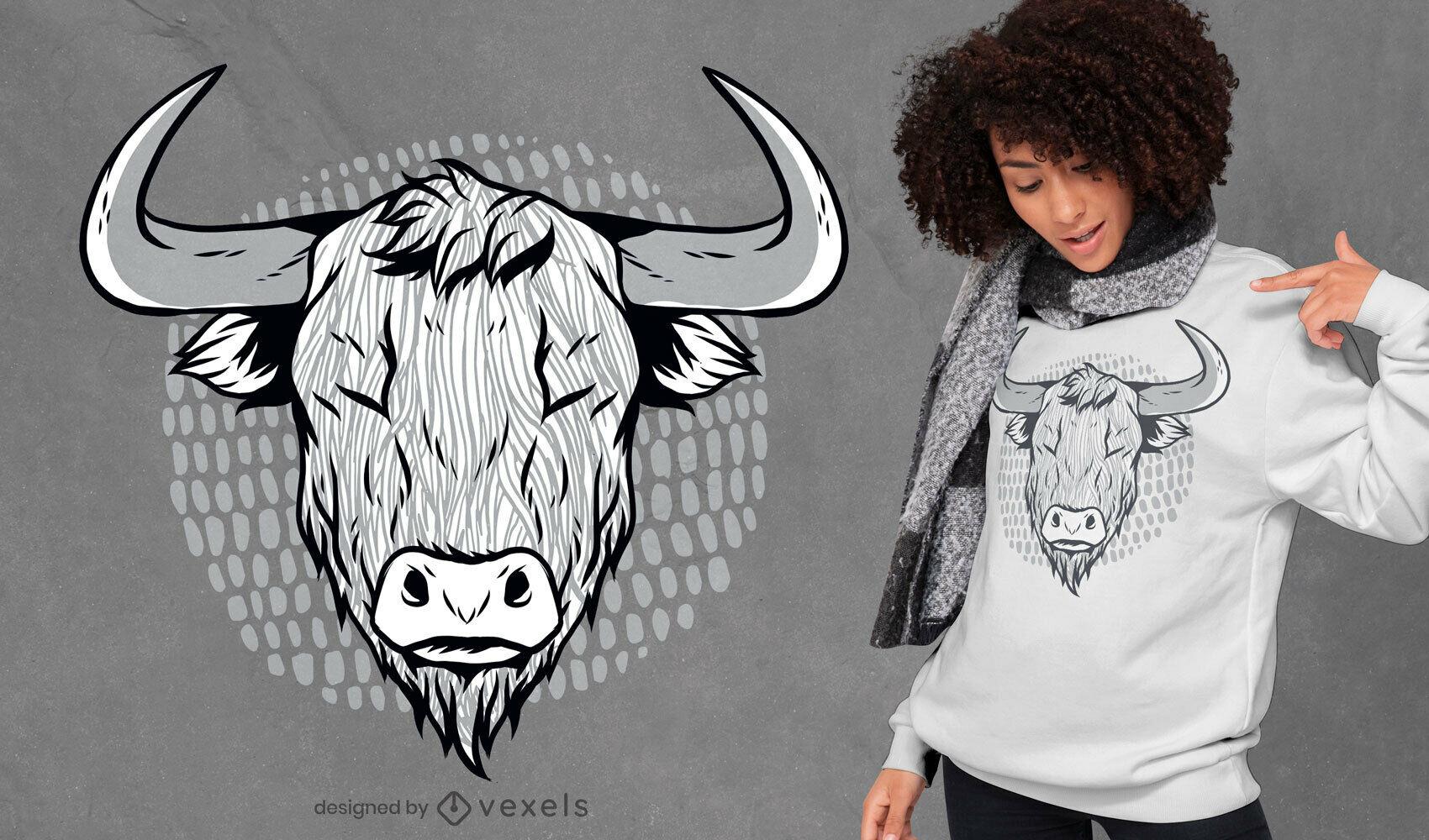Highland Cattle Illustration T-shirt Design