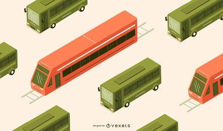 Ilustración de bus isométrica