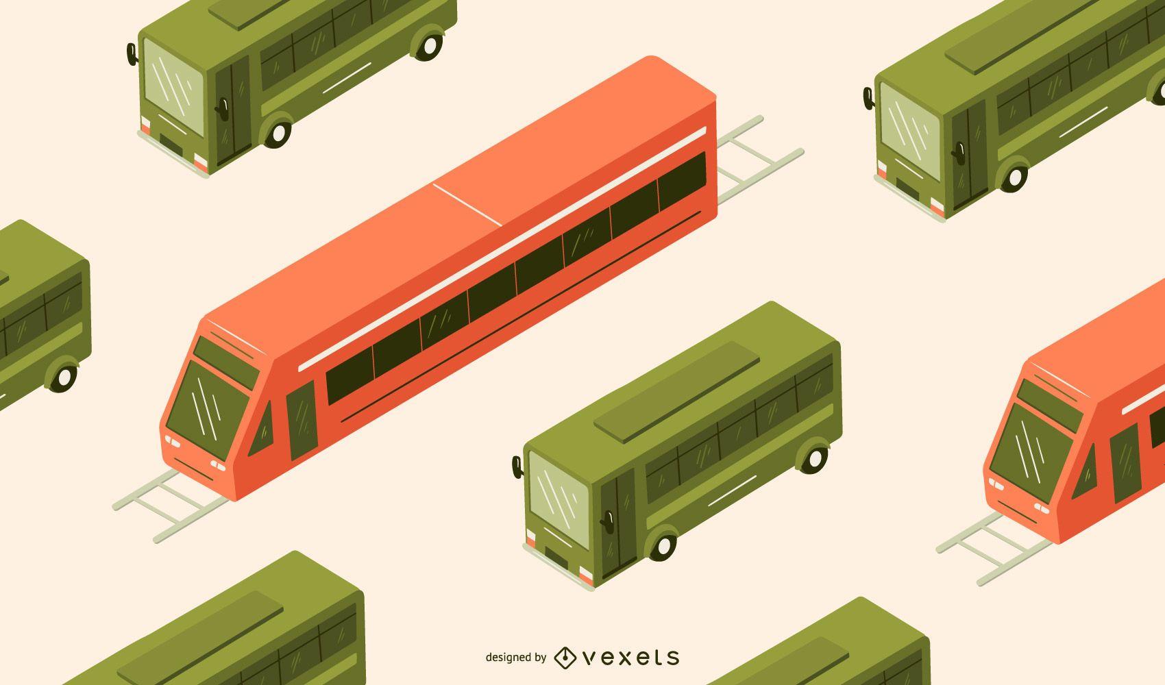 Ilustración de autobús isométrica