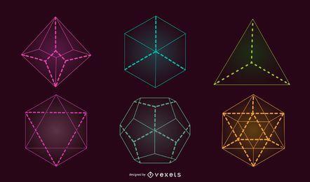 Paquete de dados geométricos de juego de roles