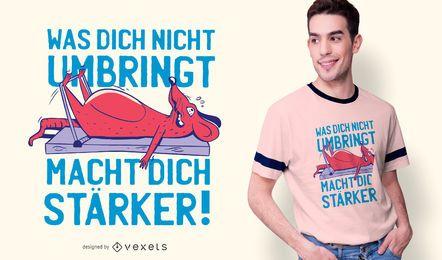 Design alemão engraçado do t-shirt do exercício da perna