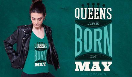 Queens are Born Quote Design de camisetas