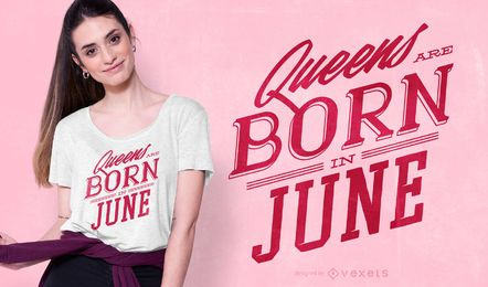 Queens are Born Text T-shirt design