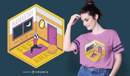 Diseño de camiseta de yoga en casa isométrica