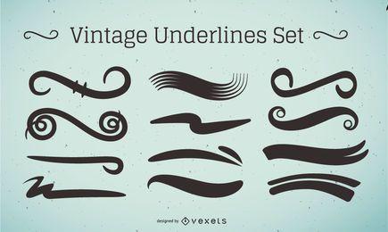 Conjunto de traços sublinhados vintage