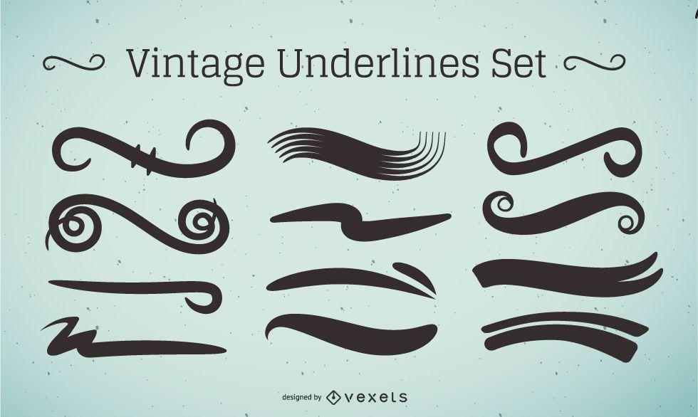 Conjunto de trazos de subrayado vintage