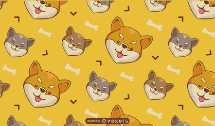 Shiba Inu Hund Cartoon Muster