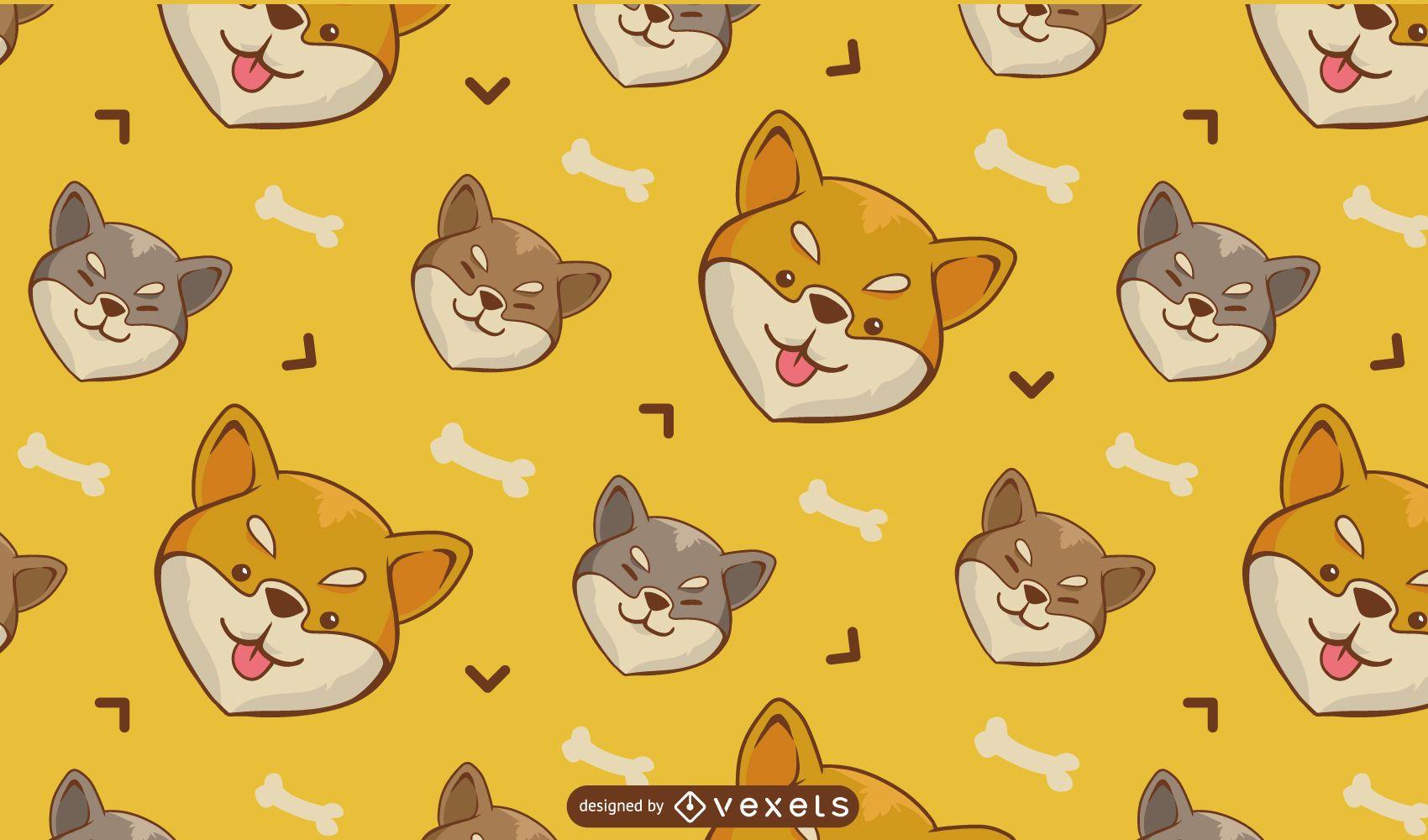 Patrón de dibujos animados de perro Shiba Inu