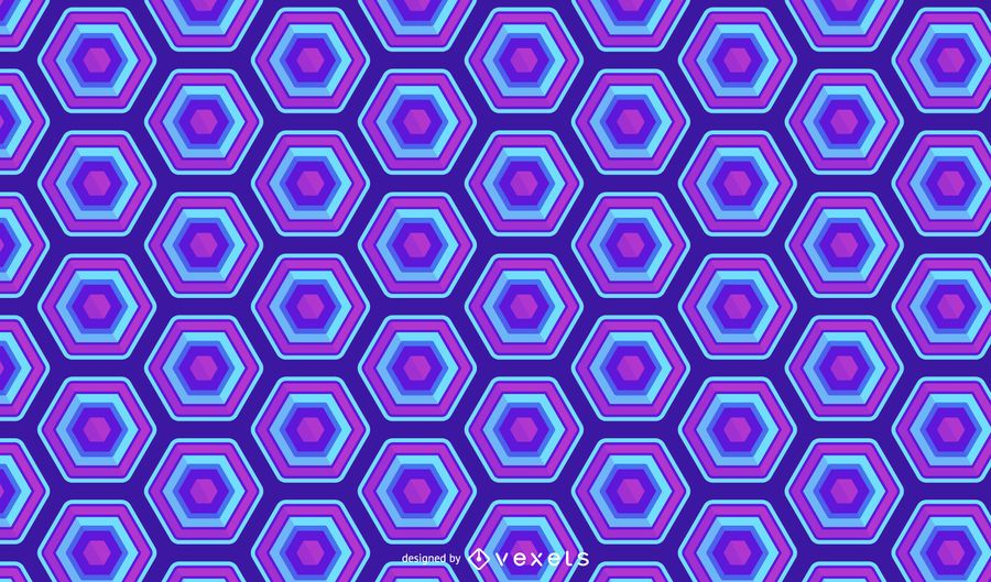 Hexagonal Blue Neon Pattern Design