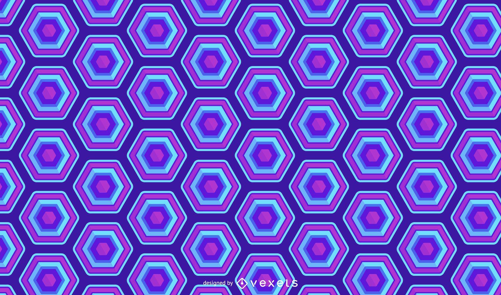 Diseño de patrón de neón azul hexagonal