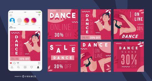 Bailar publicaciones en redes sociales en línea