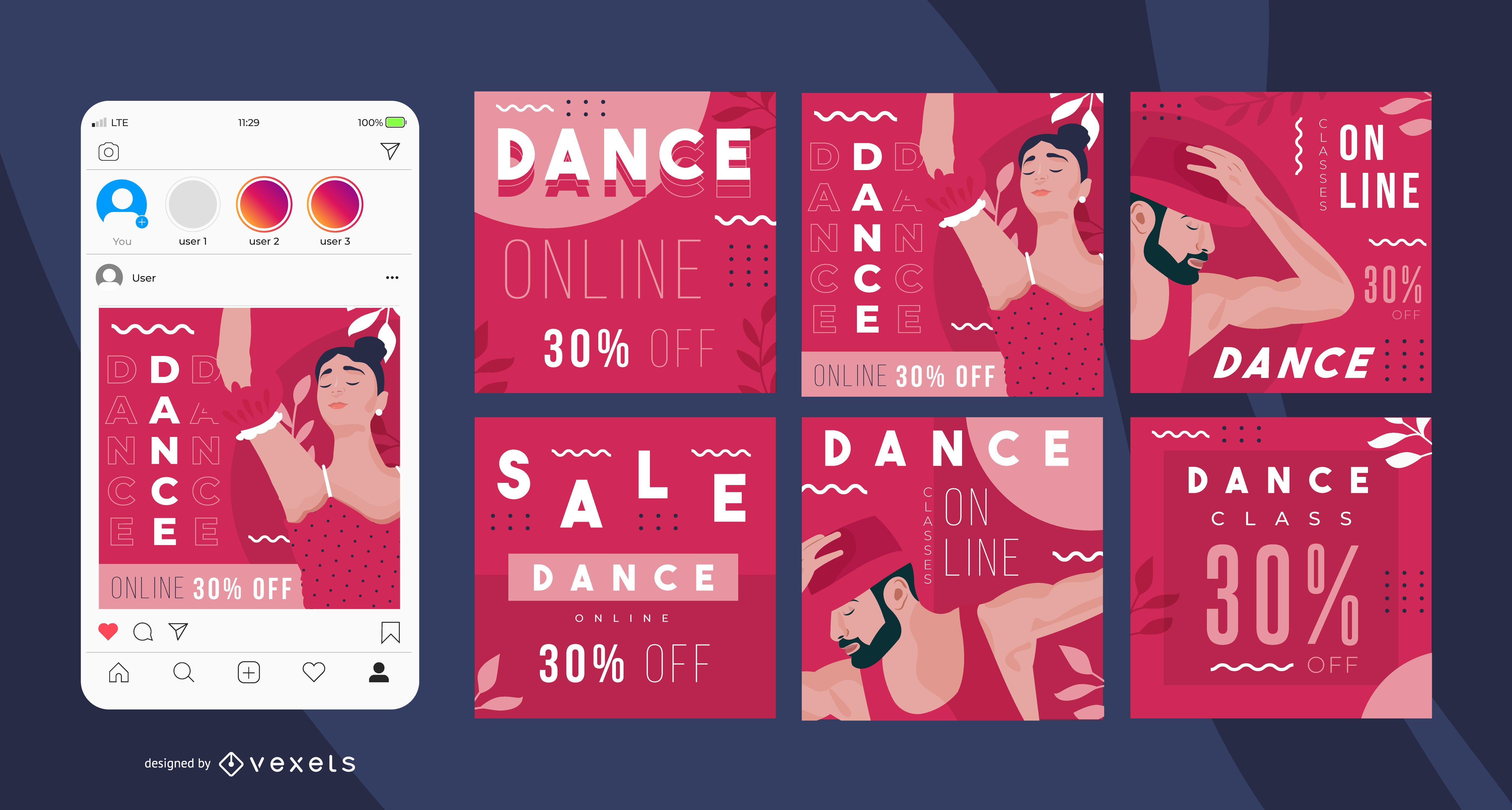 Dance online social media posts