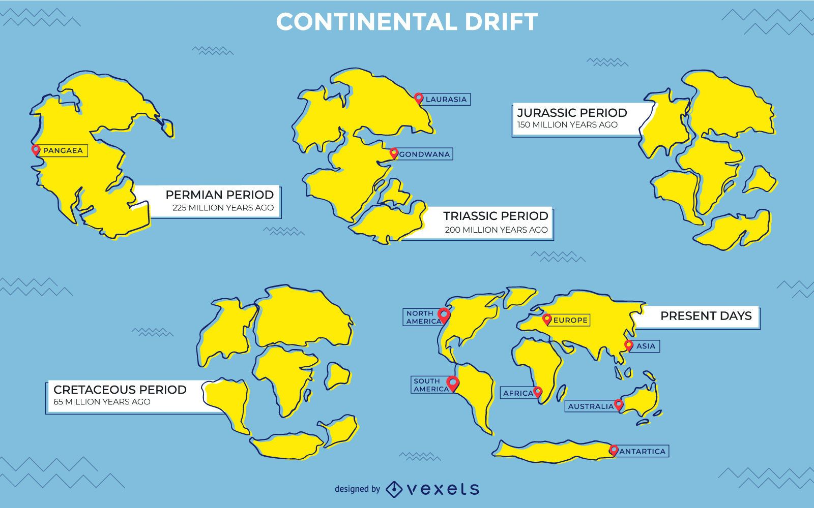 Continental drift illustration design