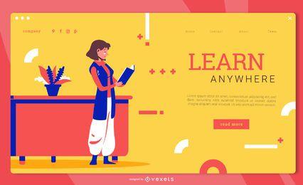 Aprenda em qualquer lugar da página de destino de educação