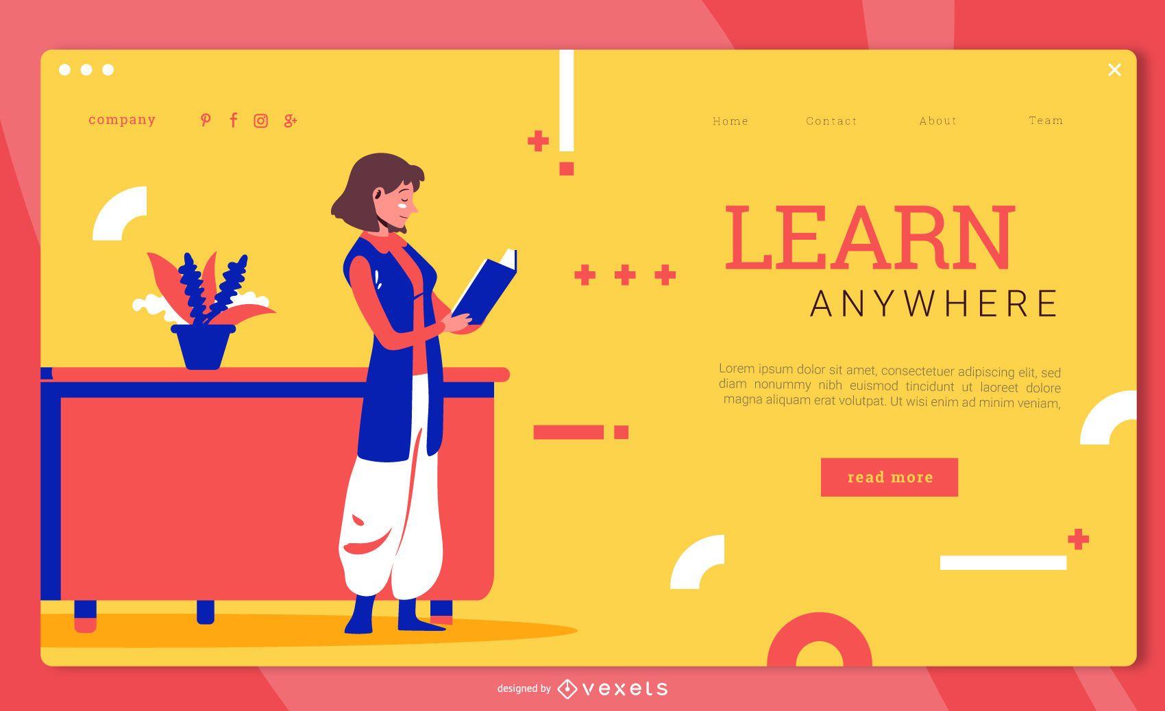 Página de inicio de educación para aprender en cualquier lugar