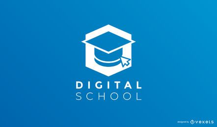 Modelo de logotipo de escola digital