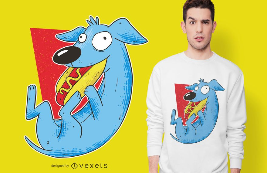 Dog Eat Hot Dog T-shirt Design