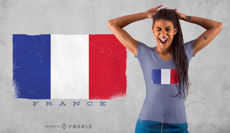 Diseño de camiseta de bandera de Francia