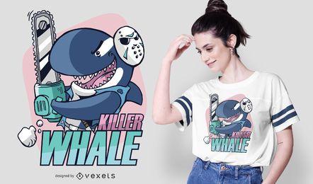 Design de camiseta com texto de desenho animado da baleia assassina