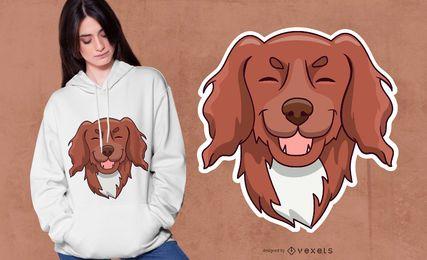Design peludo bonito do t-shirt do cão de filhote de cachorro