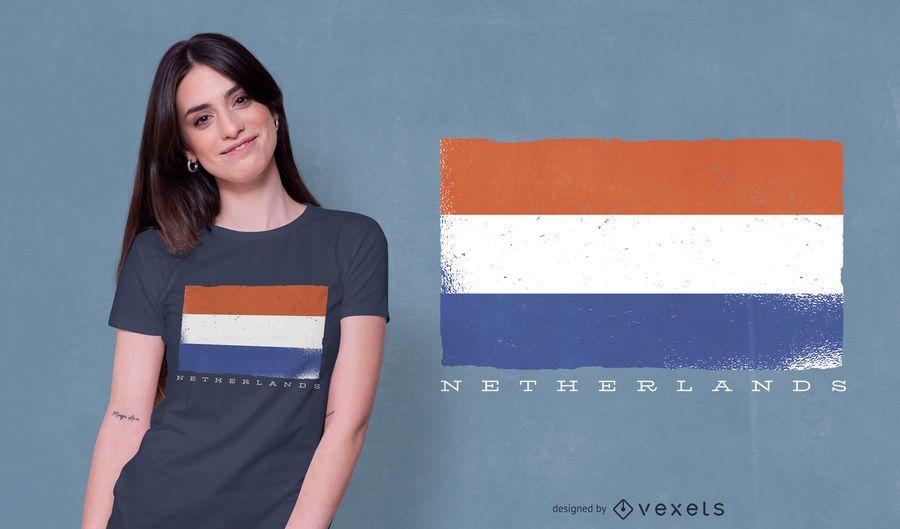 Diseño de camiseta de bandera de Holanda