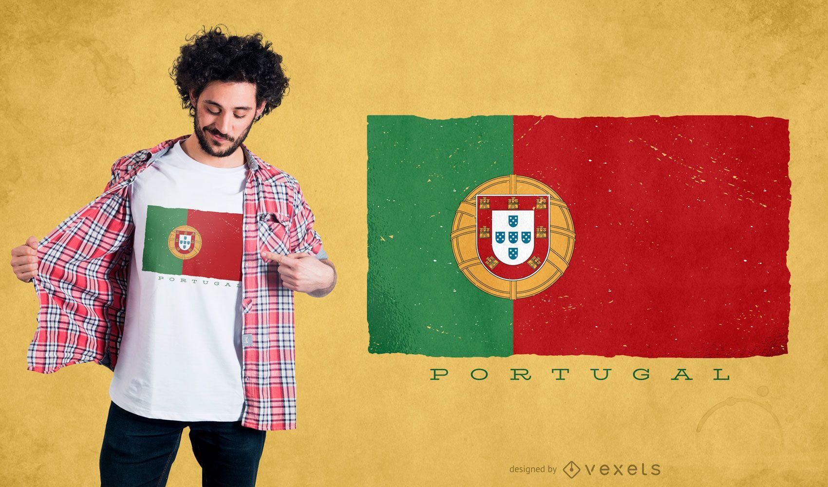 Diseño de camiseta de bandera de Portugal