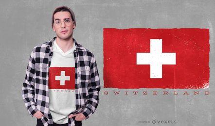 Design de t-shirt de bandeira da Suíça