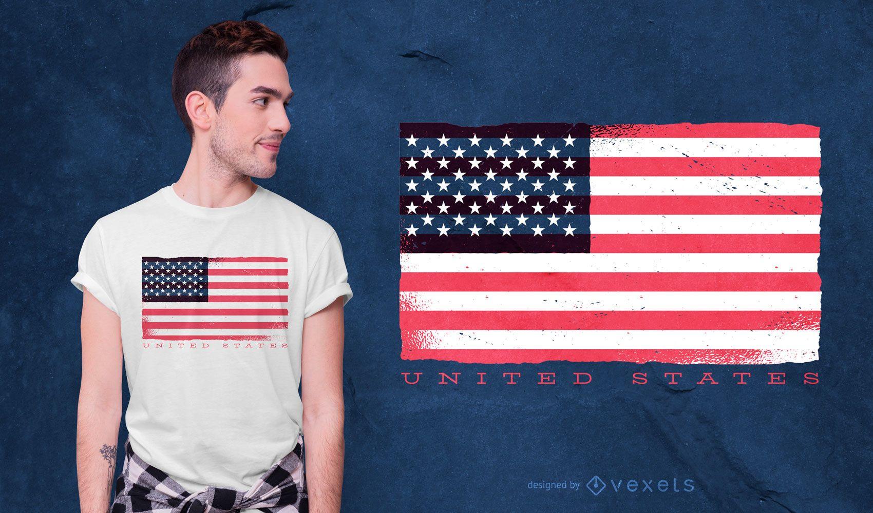 Dise?o de camiseta de bandera de Estados Unidos
