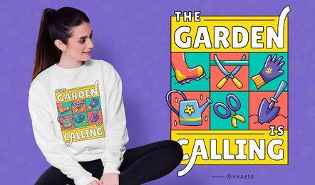 Garten, der Illustration T-Shirt Design nennt